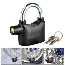 Anti-theft Key Lock Padlock Shock Sensor 110db Electronic Sound Alarm Black