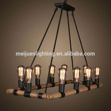China supply 10 head egyptian colorful arts bar club modern g4 g9 led hemp rope hanging chandelier pendant lamp lights