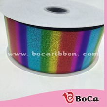 75mm 3 inch grosgrain Ribbon holo rainbow foil accept custom printing(Many more color for choose)