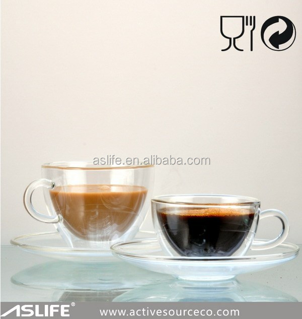 ASDJ1168_122x90x65mm Coffee Shop Tableware The Borosilicate Glass Cups With Saucers!Nice 10CL Coffee Glass Double Wall Cup