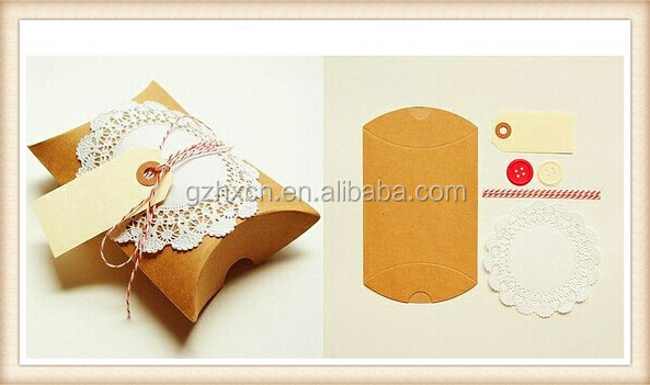 wedding favor candy gift pillow kraft paper box with lace