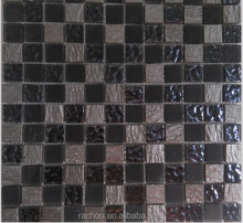 Black series mosaic tile for bathroom and wall ,wave glass and resin mixed ,2015 popular sell in china