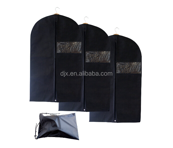 Hanging garment storge foldable Suit Bag with Clear Window garment bag with shoe pocket