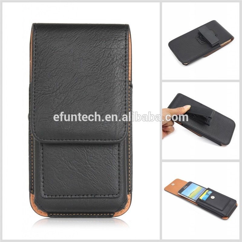 Top selling mobile accessory 5.5inch classic man use universal leather waist bag mobile phone case with clip