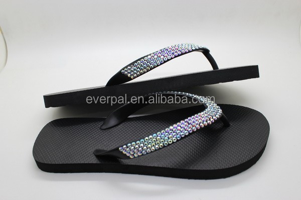 Crystal Flip Flops With 450-500 Crystals Rhinestones Bling 4-ROWS