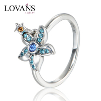 925 Silver Ring With Blue Stone Lucky Cubic Zirconia Stone Finger Rings RIPY059