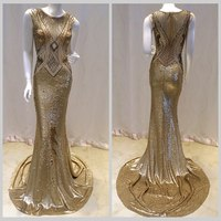 Beading round neck fishtail long latest dress designs girls party gold evening dress patterns for girls
