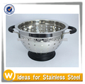 4 Quart Stainless Steel Colander Strainer with Plastic Bottom and Grip Handles