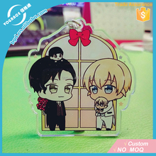 Hot sale 2017 Yiwu VOGRACE acrylic keychain fashion custom cheap transparent clear UV cartoon anime couple keychains for gift