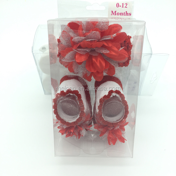 Glitter hair bow with shabby flower and cute socks set for baby