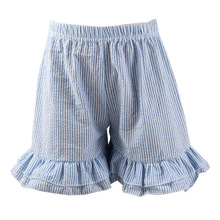 Wholesale 2016 baby girls seersucker shorts double ruffle baby girl bloomer short