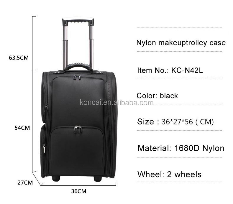Professional Nylon Makeup Case Rolling Trolley Tool Case Organizer Bag
