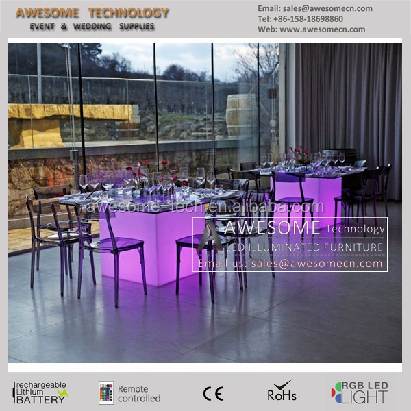 led dining table design / luminous square wedding table / fancy glass dining set