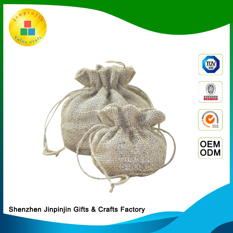 Brand new linen gift bag jute bag with zipper gift bags free samples