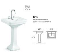 1415 bathroom sanitary ware ceramic wash basin with pedestal cabinet basin