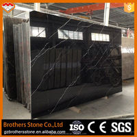 Factory directly sale customized China black slab marble with white vein