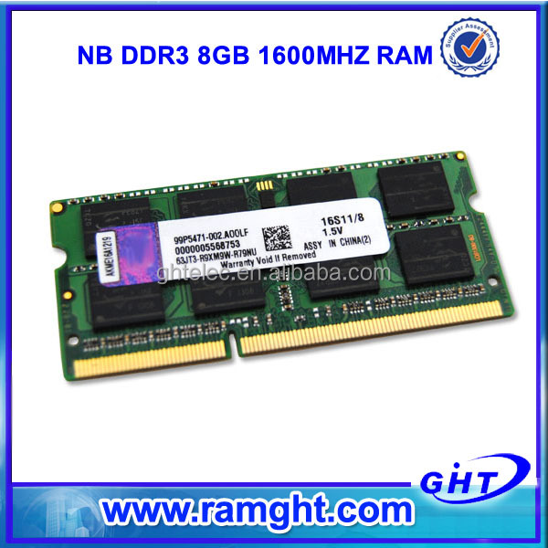 ETT original chips from Taiwan ram memory ddr3 8gb bar for laptop