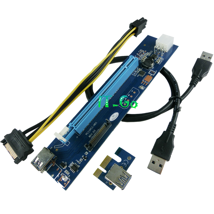 IT-GO PCI-E Riser 16x to 1x Powered Adapter Molex Card <strong>w</strong>/ 60cm USB 3.0 Extension Cable & 6-Pin PCI-E to SATA
