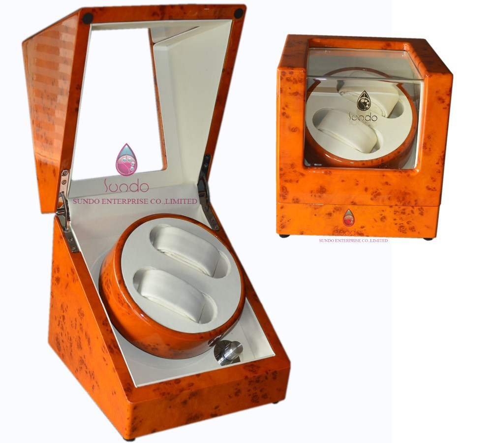 painted automatic wooden watch winder box window display for lovers