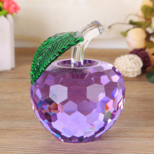 Decorative colorful crystal glass apple giftware