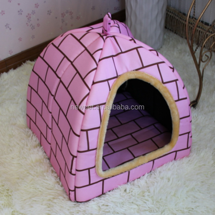 Top quality crazy selling pink mongolian yurt style house plush pet house dog padded