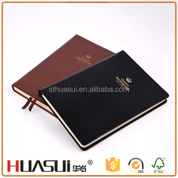 Art design classic fashion style pu leather printed hardcover school note book