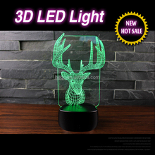 New star walls 3d lighting lamp led deer night light for christmas decoration child gift motion night light