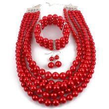 CZX1702137 Necklace Bracelet Erring Set Classic Statement Necklaces Acrylic Bead Women Jewelry Set