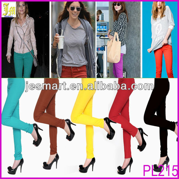New 2014 Spring Women's Leggings Candy Colors High Waist Slim Pencil Leggings For Women