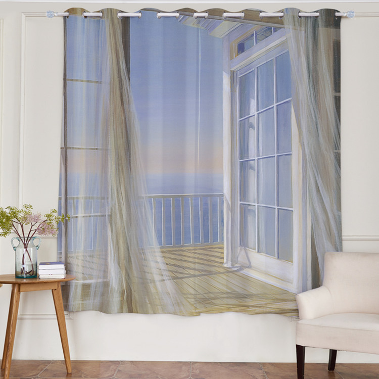 Modern Romantic 3D Designs Polyester Fabric Wall Waterproof Mould Proof Window Sheer Curtain