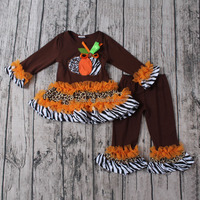 Orange tunic cheetah ruffles pumpkin lamp set baby dresses girls baby bulk wholesale clothing