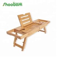 Bamboo Bathtub Caddy Tray & Laptop Bed Desk 2 in 1 innovative Design