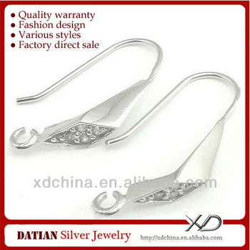 XD C589 925 sterling silver triangle cz earring hooks with loop silver dangle earrings