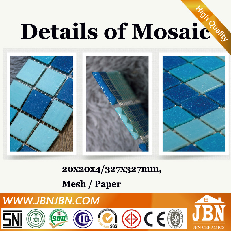 2016 Blue Mixed Hand Painting Glass Mosaic Tile For Swimming Pool