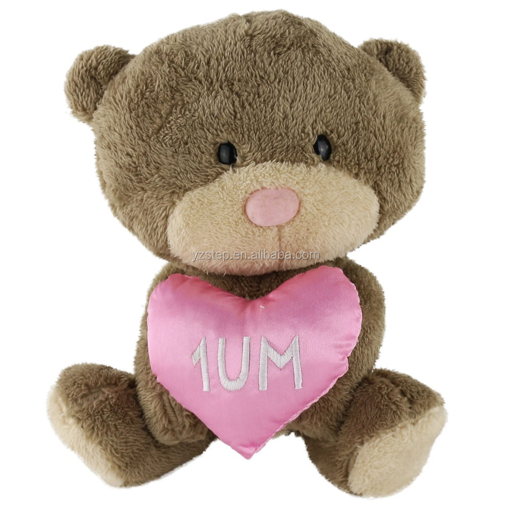 Valentine's Day Gift Brown Bear with Pink Heart Plush Toy