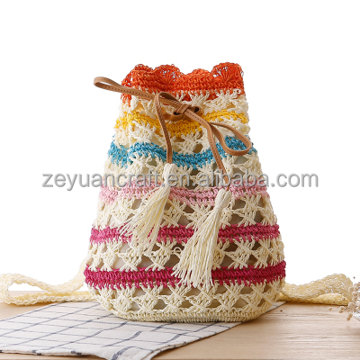New small pure and fresh chromatic stripe backpack paper straw bag