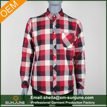 Casual apparel red checked quilted plaid flannel men shirt
