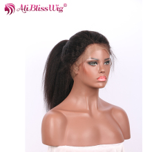 150% Density Natural Color Pre Plucked Hairline Italian Yaki Kinky Straight Human Hair Ponytail Full Lace Wig