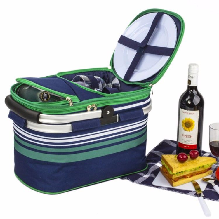 2 Person Picnic Basket with cooler compartment/ carry frame