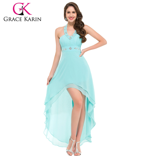 Grace Karin High-Low Powder Blue V-neck Chiffon Halter Prom Dresses GK000012-2