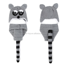 Hot Sale Newborn Baby Raccoon Crochet Costume Set for Photo Props