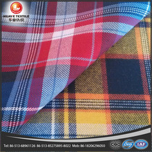 peach polyester cotton twill red and yellow plaid fabrics for shirt