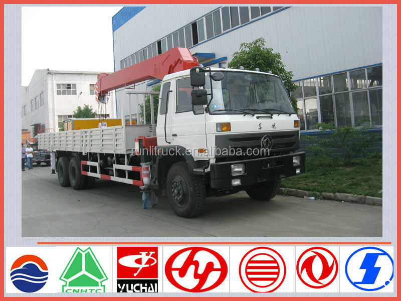 New model dongfeng EQ5253 LHD/RHD 6*4 8ton used crane truck for sale in dubai
