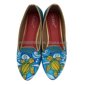 Painted Shoes Flats Sea Turtles Blue