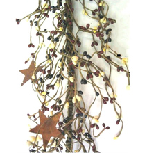 Pip Berry Garland with Rusty Tin Stars 40 inch L Country Mix Burgundy Navy Ivory
