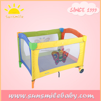 colorful plastic baby playpen, easy folding outdoor baby travel cot bed, traveling infant day care baby cribs