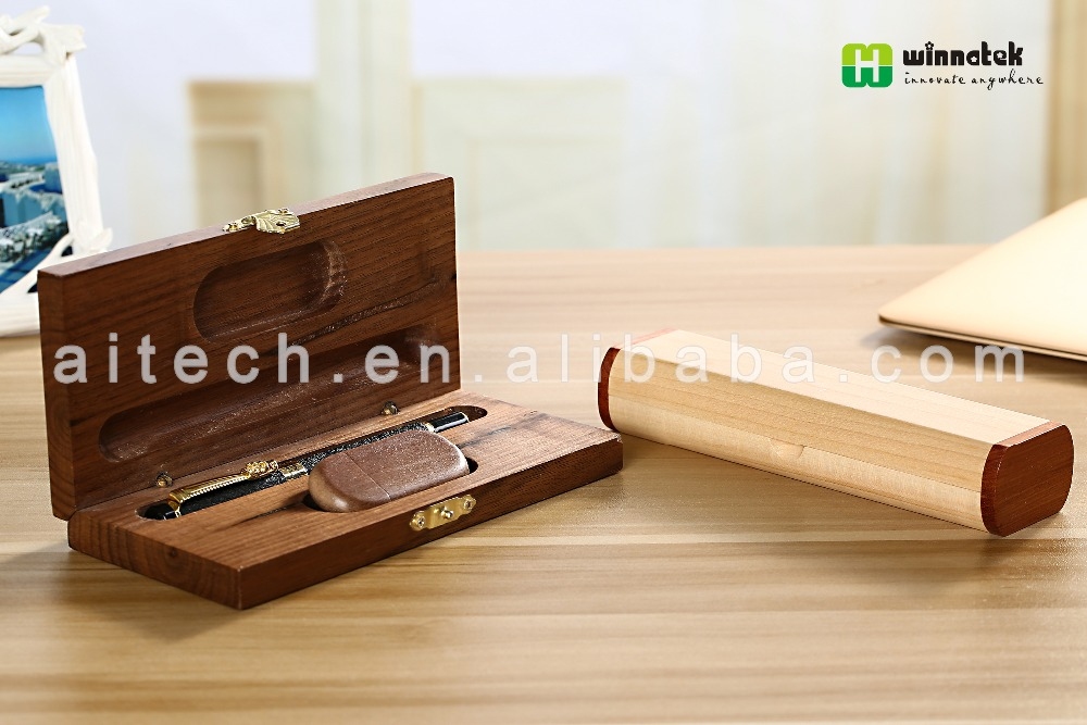 Wholesale nice walnut wooden packing box for pen and usb driver