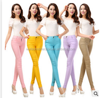 2015 New Women's Casual Candy Neon Color Trousers Tight Leggings Ladies Stretch Pencil Pants Slim Fit Cotton Jeans