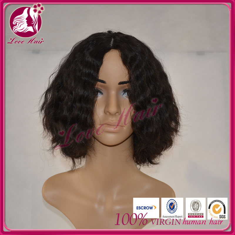 Hot new products for 2015 wholesale cheap bob style human hair kinky curly full lace wig
