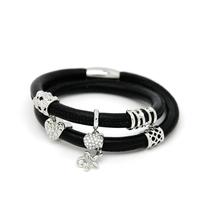 Handmade Jewelry Silver Bead Slide Charm Black Leather Bracelet Wholesale EB069